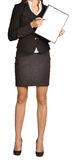 Kobiet przedstawień ballpoint bezgłowy pióro na schowku zdjęcie stock