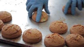 Kobiet ręki biorą daleko od piec ciastka od metal tacy na piekarni fabryce zbiory wideo