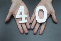 Kobiet ręki numerowi czterdzieści fotografia royalty free
