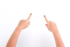 Kobiet ręki pokazywać kierunek Obraz Stock