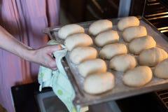 Kobiet ręki stawia tacę kulebiaki w piekarniku obraz royalty free