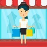 Kobiet Robić zakupy Sklepowy centrum handlowego tło Wektorowy płaski postać z kreskówki Zdjęcia Stock