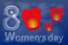 Kobiet s dzień, osiem z chmur w niebie ilustracja wektor