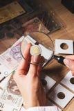 Kobiet spojrzenia przy złoty monetą przez powiększać - szkło Obrazy Royalty Free
