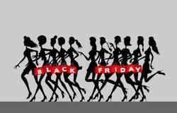 Kobiet sylwetki z trzymać czarnych Piątków torba na zakupy fotografia stock