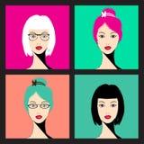 Kobiet twarze - wektorowa ilustracja Fotografia Stock