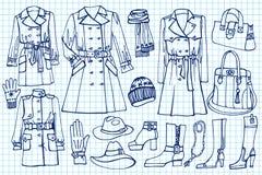 Kobiet ubrania ustawiający Mody odzież na Szkicowym ilustracja wektor