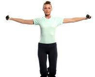 Kobieta ćwiczy ciężary trenuje Worrkout posturę Obrazy Stock