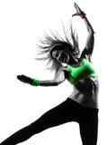 Kobieta ćwiczy sprawności fizycznej zumba dancingową sylwetkę Obraz Stock