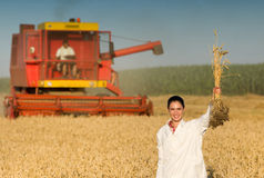 Kobieta agronom w pszenicznym polu Obraz Royalty Free