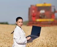 Kobieta agronom w pszenicznym polu Zdjęcia Stock
