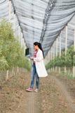 Kobieta agronom w sadzie Zdjęcie Royalty Free
