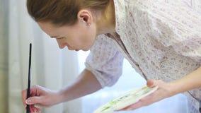 Kobieta artysty obrazu akwareli farby zbiory