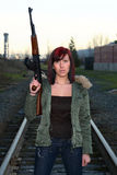kobieta atak broni Fotografia Royalty Free