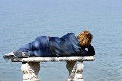 kobieta ławki morza Zdjęcie Royalty Free