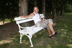 kobieta ławki park Fotografia Stock