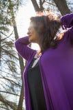 Kobieta backlit podnośny włosy Obraz Royalty Free
