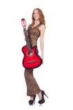 Kobieta bawić się gitarę odizolowywającą Obrazy Royalty Free