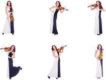 Kobieta bawić się skrzypce odizolowywającego na białym tle Zdjęcie Royalty Free