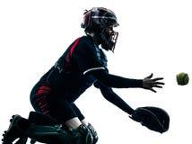 Kobieta bawić się softballi graczów sylwetkę odizolowywającą zdjęcie stock