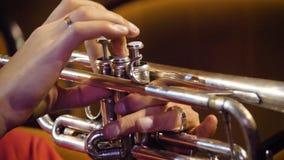 Kobieta bawić się trąbkę niebieski b palców zawodnika ogniska ton saksofonowa na trąbce Trąbkarz bawić się muzycznego jazzowego i Obrazy Stock