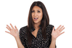 Kobieta bez sposobu wyrażenia odizolowywającego na bielu Zdjęcie Stock
