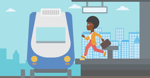 Kobieta bieg wzdłuż platformy Obrazy Stock