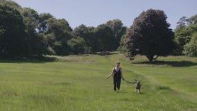 Kobieta bieg z zwierzę domowe psem w Trawiastej łące w zwolnionym tempie zbiory