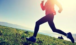 Kobieta biegacza bieg na halnym szczycie zdjęcie royalty free