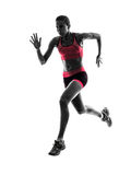 Kobieta biegacza działającego jogger jogging sylwetka obrazy stock