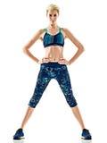 Kobieta biegacza działający jogger jogging odosobnionego białego tło Fotografia Stock
