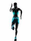 Kobieta biegacza działający jogger jogging tylni widoku sylwetkę zdjęcia royalty free