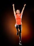Kobieta biegacza jogger działający jogging odizolowywam Fotografia Stock