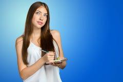 Kobieta bierze notatki zdjęcie stock