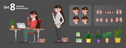 Kobieta biurowi charaktery ustawiający dla animacji ilustracji