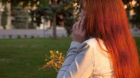 Kobieta biznesmen chodzi wzdłuż miasto ulicy zaświecającej promieniami słońce i mówi na telefonie biznesowa kobieta z szkłami i ś zbiory wideo