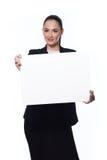 kobieta biznesowej banner gospodarstwa Obraz Stock
