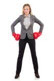 Kobieta bizneswoman z bokserskimi rękawiczkami Zdjęcie Royalty Free