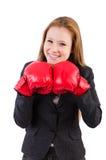 Kobieta bizneswoman z bokserskimi rękawiczkami Zdjęcia Stock