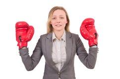 Kobieta bizneswoman z bokserskimi rękawiczkami Zdjęcia Royalty Free