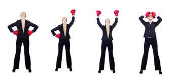 Kobieta bizneswoman z bokserskimi rękawiczkami na bielu Fotografia Stock