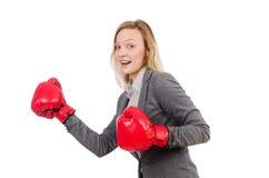 Kobieta bizneswoman z bokserskimi rękawiczkami Obraz Stock