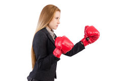 Kobieta bizneswoman z bokserskimi rękawiczkami Obrazy Royalty Free
