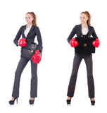 Kobieta bizneswoman z bokserskimi rękawiczkami na bielu Obrazy Royalty Free
