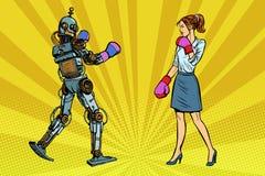 Kobieta bizneswomanu boks z robotem ilustracja wektor