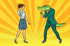 Kobieta bizneswomanu boksu walki z krokodyla reptiloid royalty ilustracja