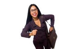 Kobieta bizneswomanu pojęcia odosobniony biały tło Obrazy Royalty Free