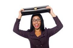 Kobieta bizneswomanu pojęcia odosobniony biały tło Zdjęcie Stock