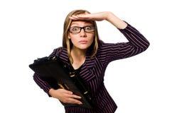 Kobieta bizneswomanu pojęcia odosobniony biały tło fotografia royalty free