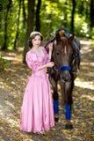 Kobieta blisko konia Obrazy Royalty Free